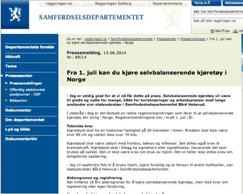 Selvbalanserende kjøretøy lovlig i Norge fra 1. juli